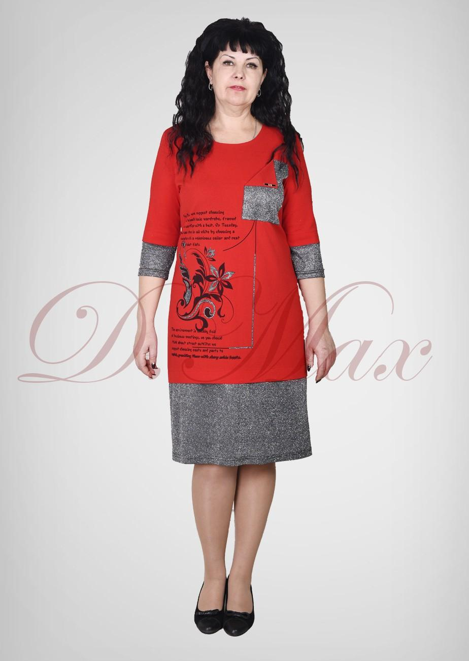 Платье из трикотажа с принтом